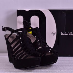 Michael Antonia Racer Black Strappy Wedges A22-1D